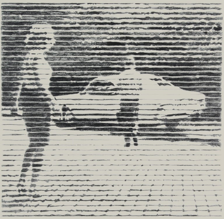 Charles Buckley Figurative Art - The First and Last Date, black and white work on paper of young man and woman