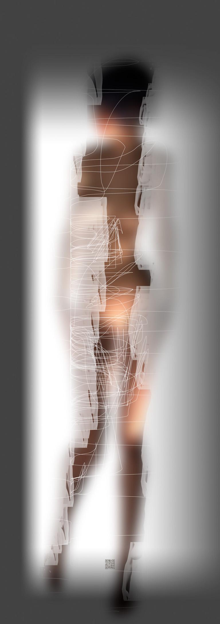 Gary Kaleda Nude - Oblique, digital painting of nude female, vertical