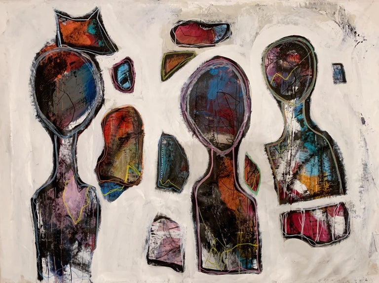 """A'Driane Nieves Figurative Painting - Tres Reyes Magos, three abstracted figures on canvas, 52"""" x 70"""""""