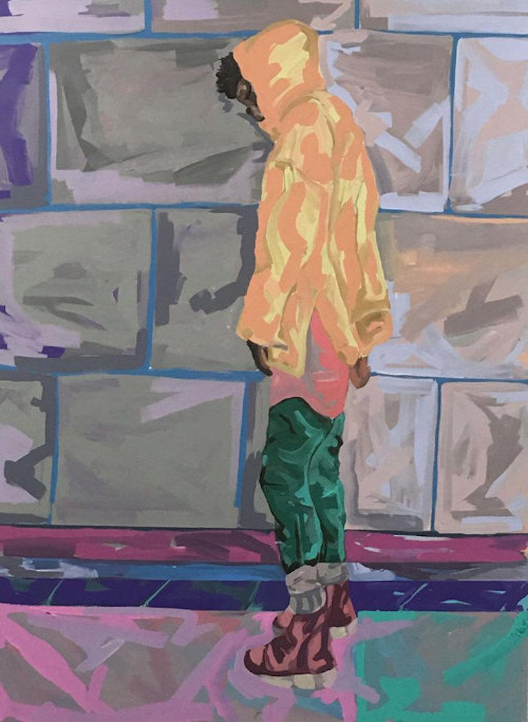 Barry Johnson Portrait Painting - Untitled 34, figurative painting of man on a city street, yellow and green