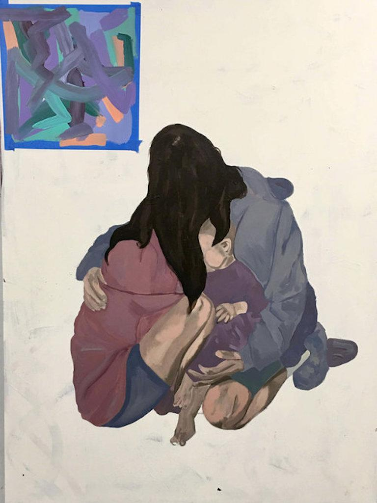 Barry Johnson Portrait Painting - Untitled 102, figurative painting of family and child, anonymous people