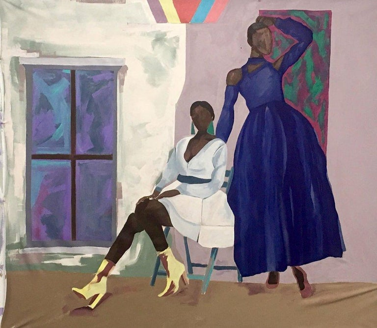Barry Johnson Portrait Painting - Untitled 108, double portrait of two strong women, purple and pink