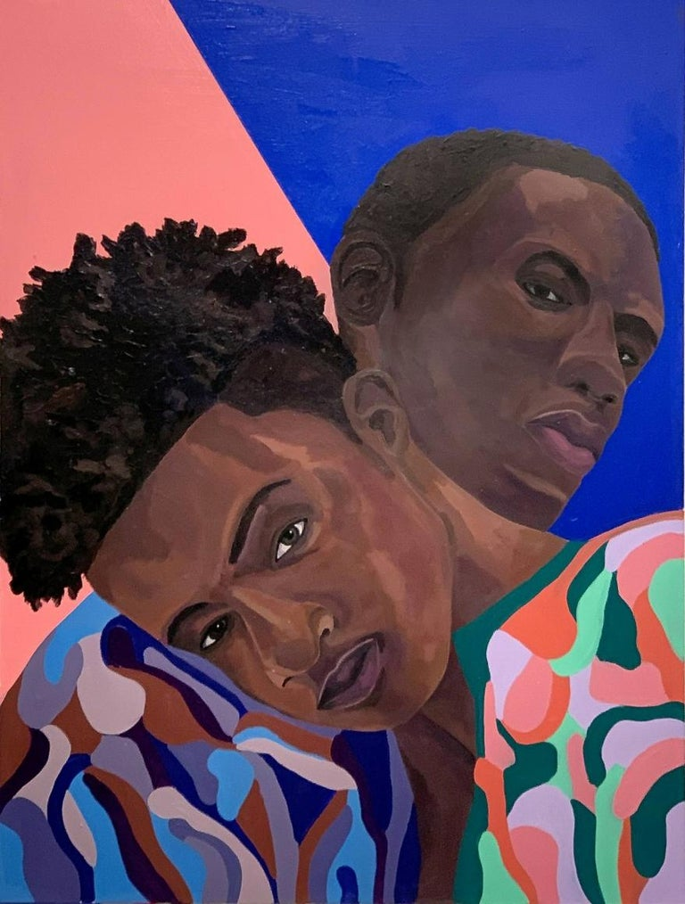 Barry Johnson Figurative Painting - Untitled 132, portrait of 2 young men in multicolored clothes, blue and pink