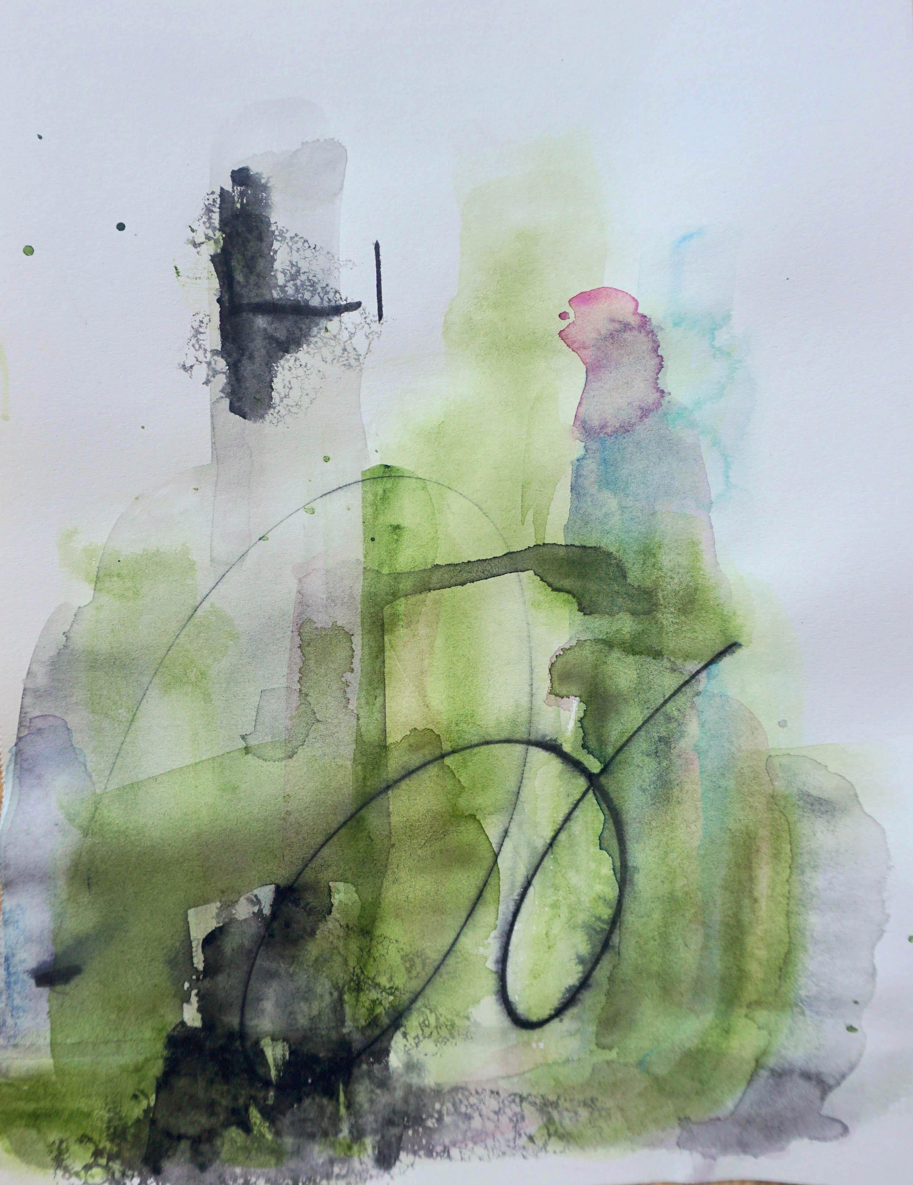 In the Forest, green abstract watercolor painting on archival paper
