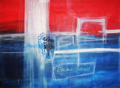 In The Meantime, blue and red abstract mixed media painting, large