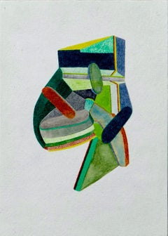Untitled, Small Works No. 51, green geometric abstraction, work on paper