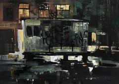 I Am Still Here And Going Nowhere, abstracted city scene at night, graffiti