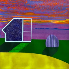 Departure, bright surrealistic painting of architecture against sunset