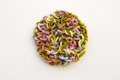 Chapters, mixed media fiber art, green, yellow and pink wall hanging
