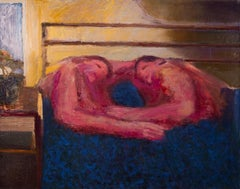 Nosotros, figurative oil painting of two people embracing in bed, red and blue