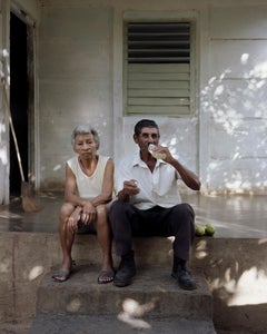 Javo and Eldi on the Steps, documentary color photograph of two people
