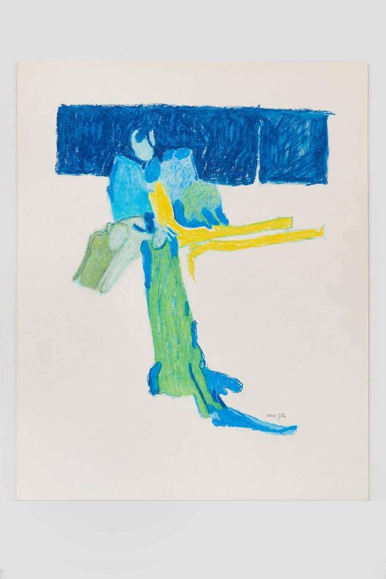 Untitled II (blue), pastel on paper, 20 x 16 inches. Bold colors - Art by James Moore