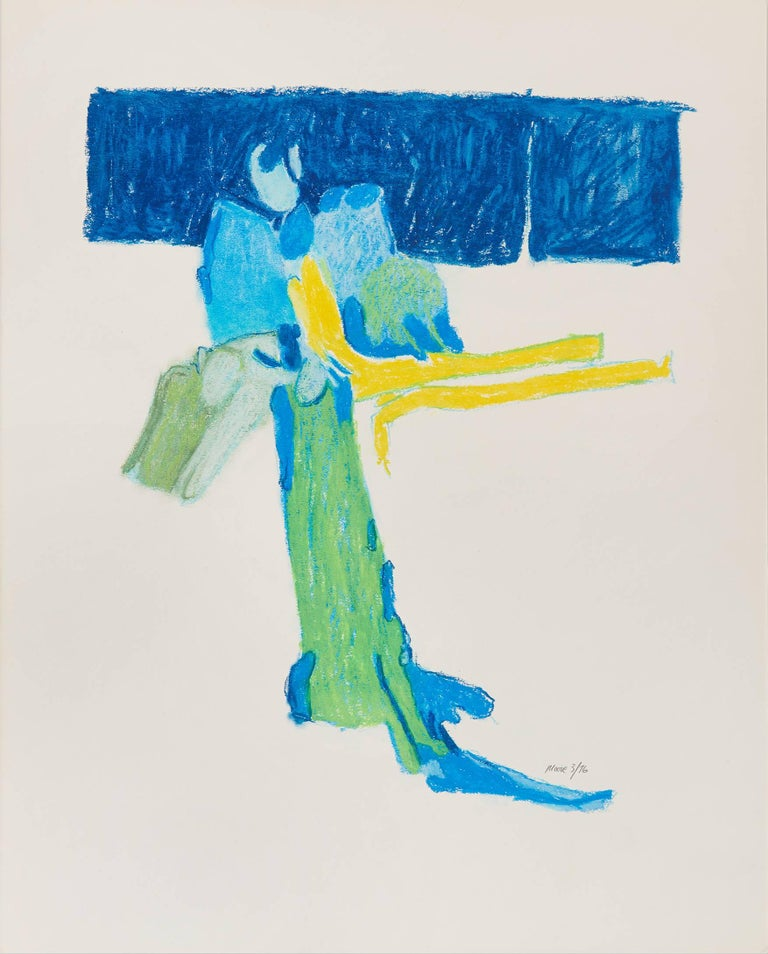 James Moore Abstract Drawing - Untitled II (blue), pastel on paper, 20 x 16 inches. Bold colors