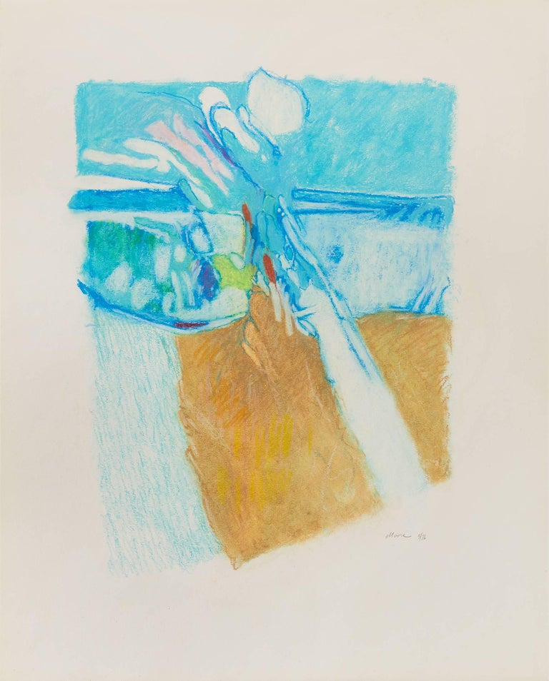 James Moore Abstract Drawing - Untitled II (blue brown), pastel on paper, 20 x 16. Unbalanced color scape