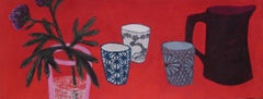 New Memories II, soft pastel on paper, 9.5 x 23.75 inches. Red still life