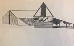 Refiner, graphite on paper, abstract barn, black and white architecture