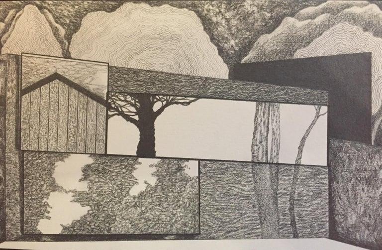 James Isherwood Landscape Art - Local Hemisphere, graphite on paper, 5.25 x 8.125 inches. Segmented tree sketch