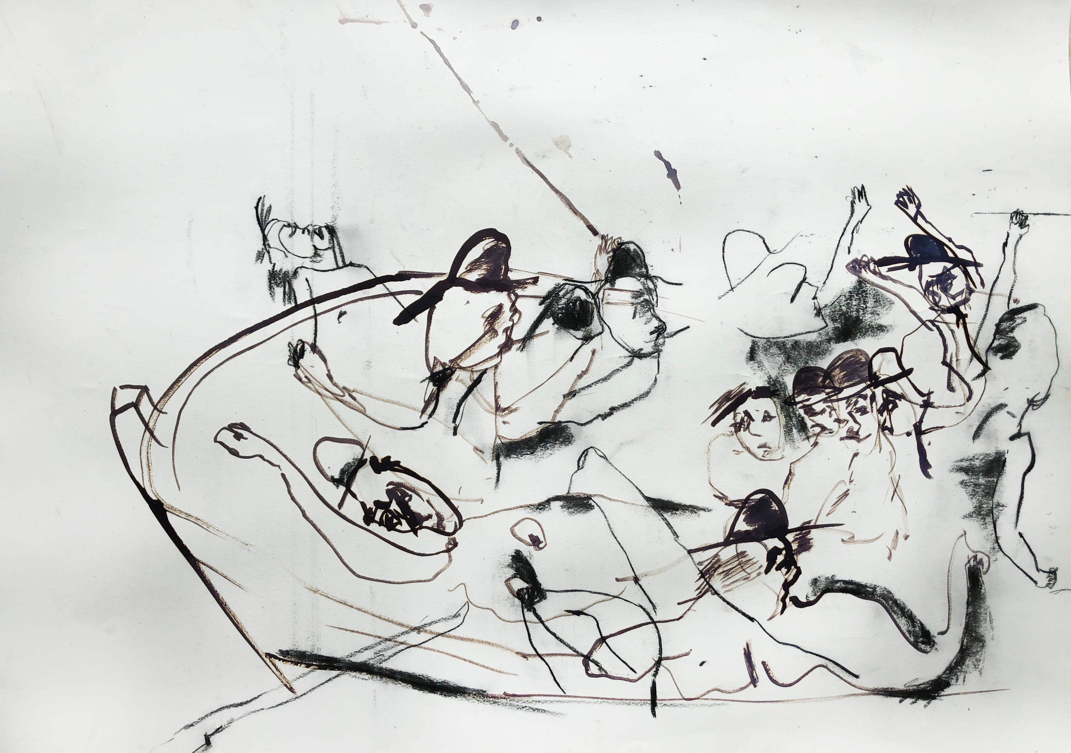 Sketch (Maumere), black and white abstract expressionist work on paper
