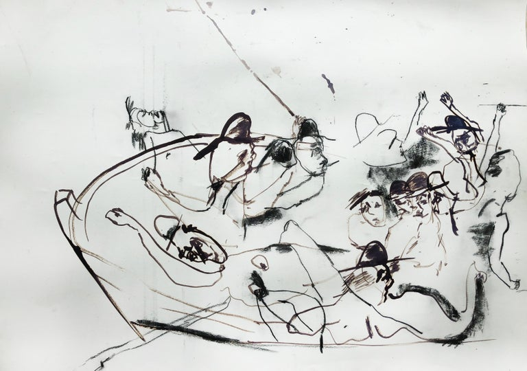 Lydia Janssen Abstract Painting - Sketch (Maumere), black and white abstract expressionist work on paper
