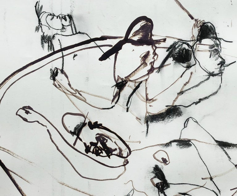 Sketch (Maumere), black and white abstract expressionist work on paper - Painting by Lydia Janssen