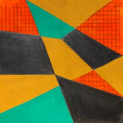 B2, abstract geometric pattern, mixed media on paper, green, yellow and red