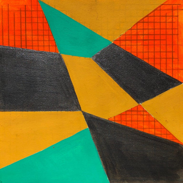Caryn Azoff Abstract Drawing - B2, abstract geometric pattern, mixed media on paper, green, yellow and red