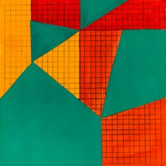 B3, abstract geometric pattern, mixed media on paper, green, yellow and red