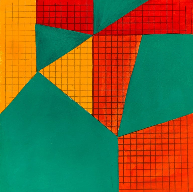 Caryn Azoff Abstract Drawing - B3, abstract geometric pattern, mixed media on paper, green, yellow and red