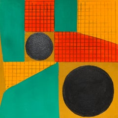 B4, abstract geometric pattern, mixed media on paper, green, yellow and red