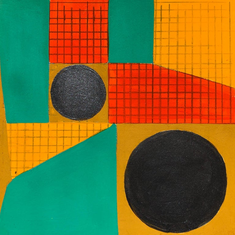 Caryn Azoff Abstract Drawing - B4, abstract geometric pattern, mixed media on paper, green, yellow and red
