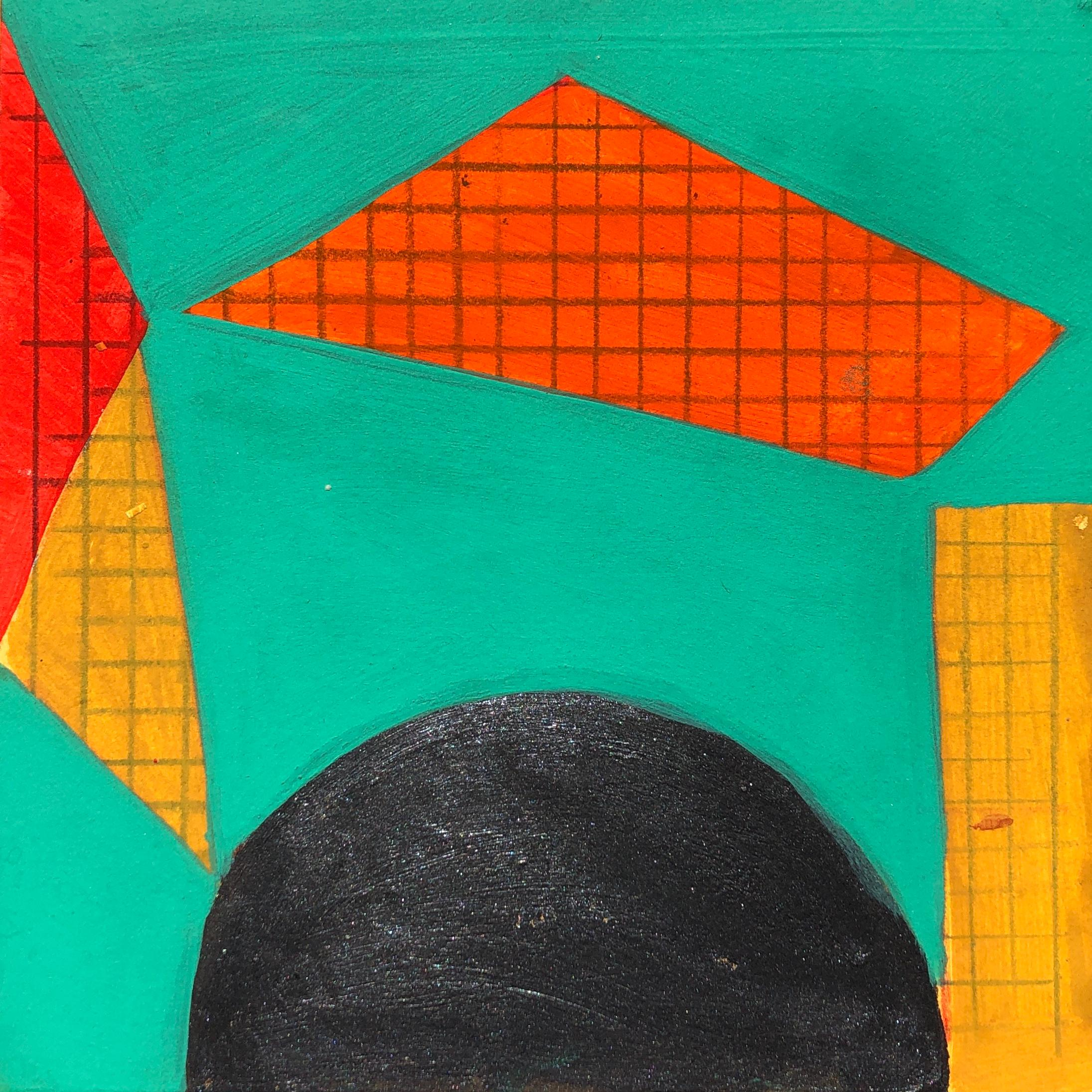 S1, abstract geometric pattern, mixed media on paper, green, yellow and red