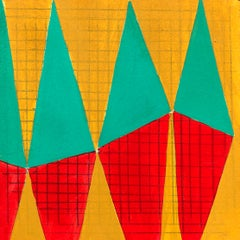 S2, abstract geometric pattern, mixed media on paper, green, yellow and red