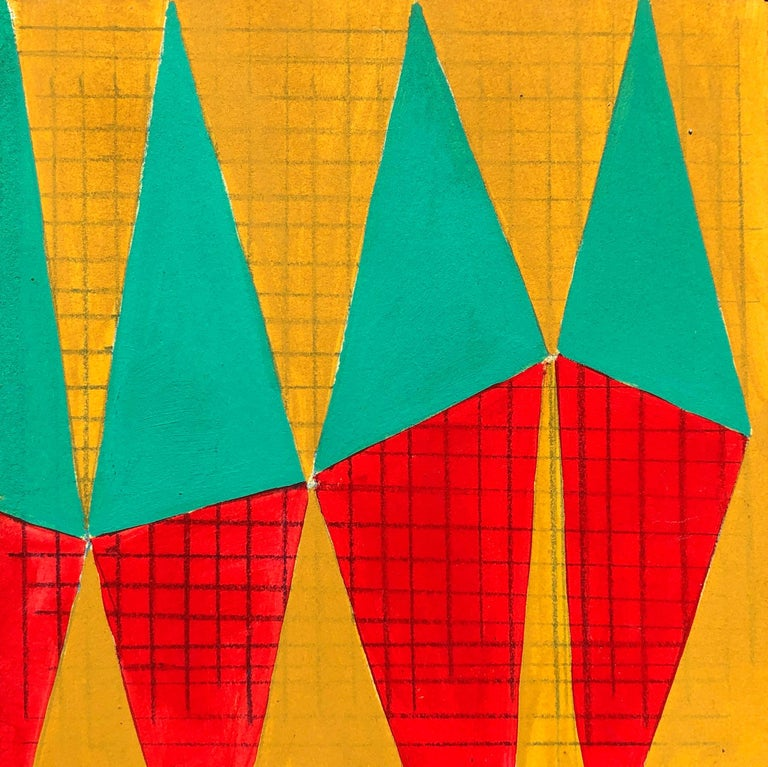 Caryn Azoff Abstract Drawing - S2, abstract geometric pattern, mixed media on paper, green, yellow and red
