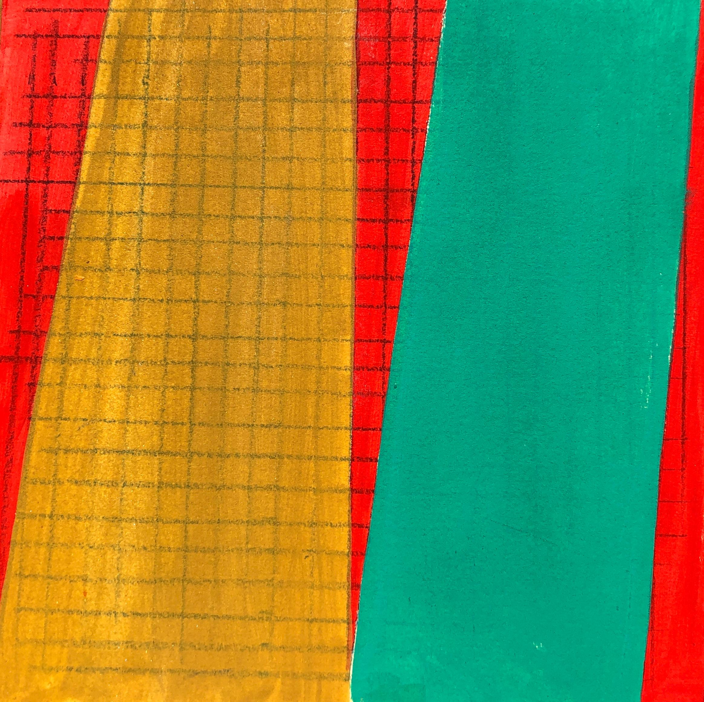 S3, abstract geometric pattern, mixed media on paper, green, yellow and red
