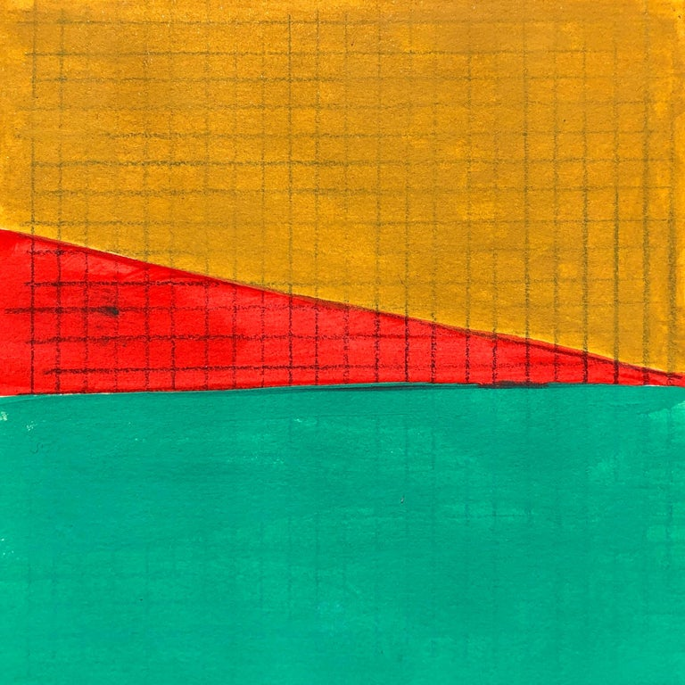 Caryn Azoff Abstract Drawing - S4, abstract geometric pattern, mixed media on paper, green, yellow and red