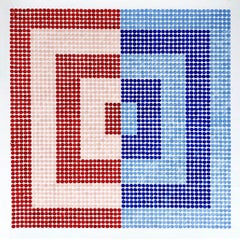 North & South Korea Meet, abstract geometric pattern, red and blue