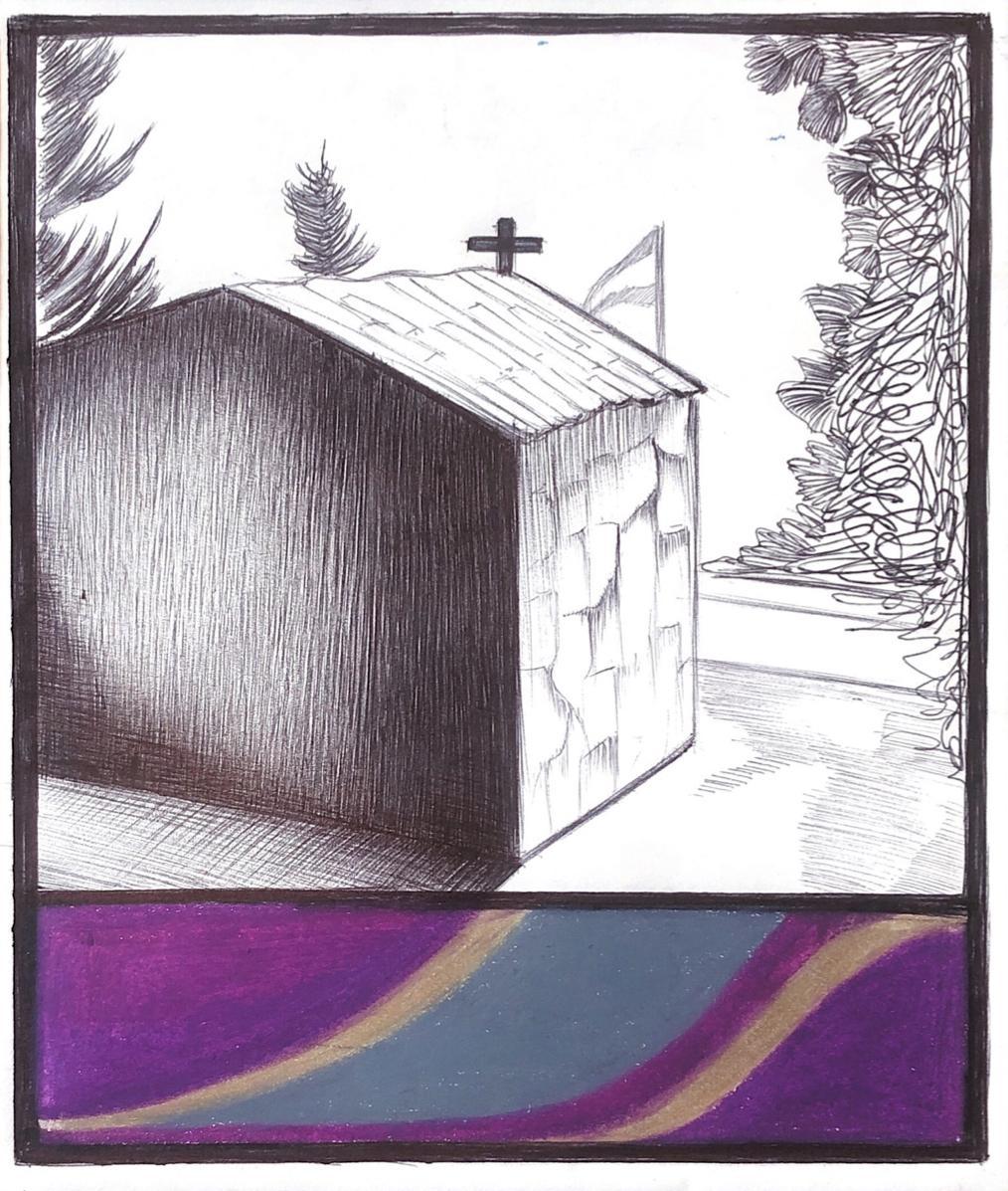 Little Church, mixed media on paper, purple