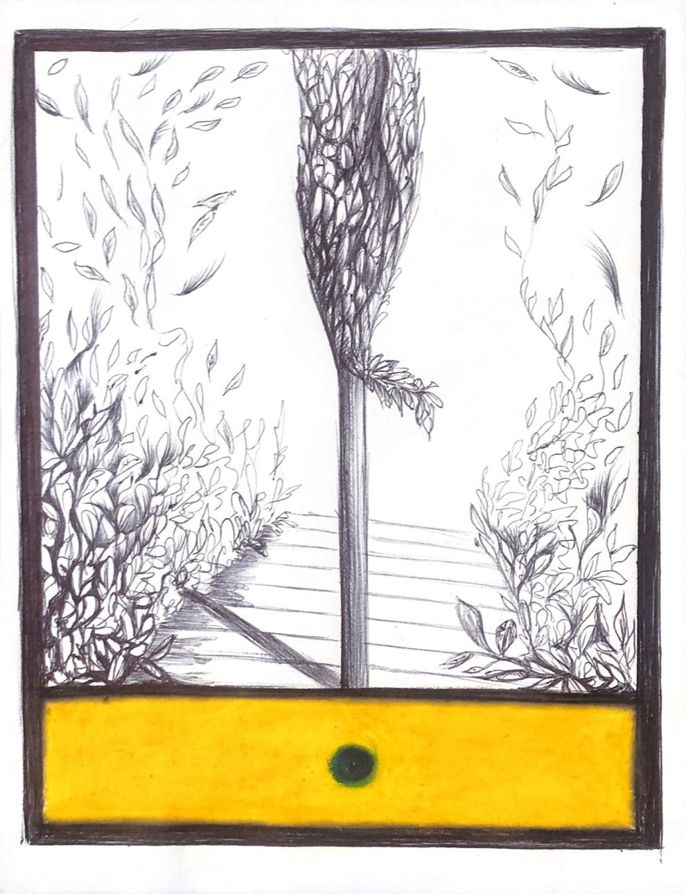 The Tree of Paxos, mixed media work on paper, yellow