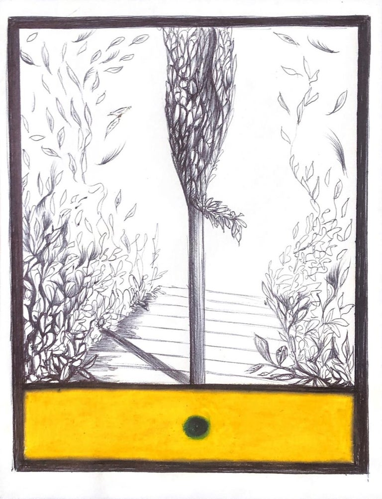 Caterina Arciprete Landscape Art - The Tree of Paxos, mixed media work on paper, yellow