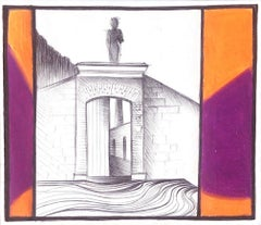 History, mixed media work on paper, purple and orange