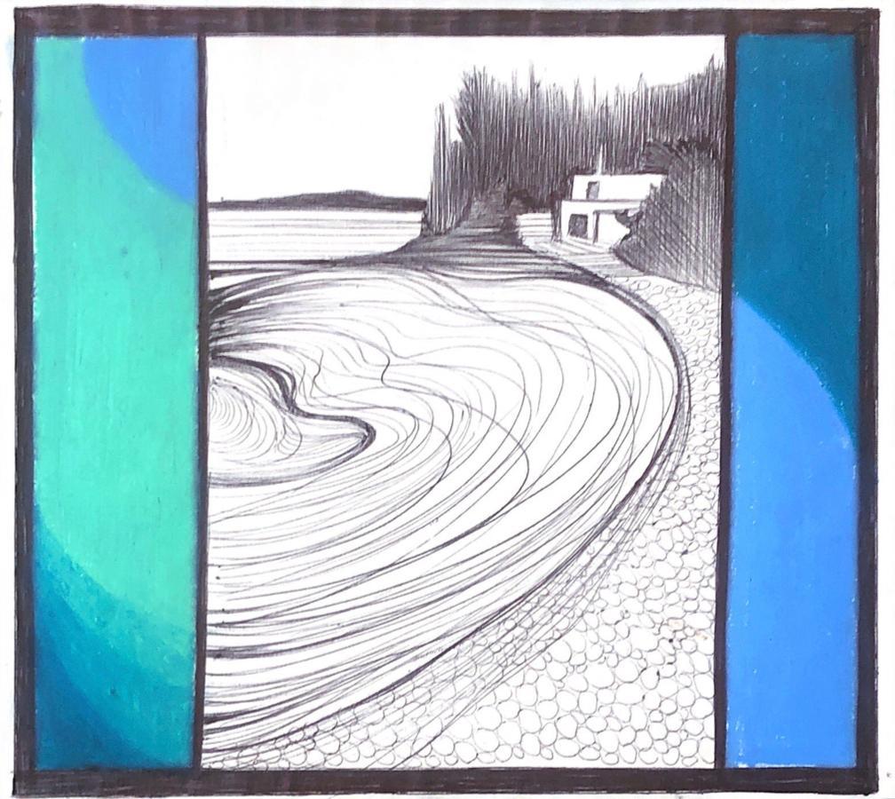 Mediterranean Sea, mixed media work on paper, blue