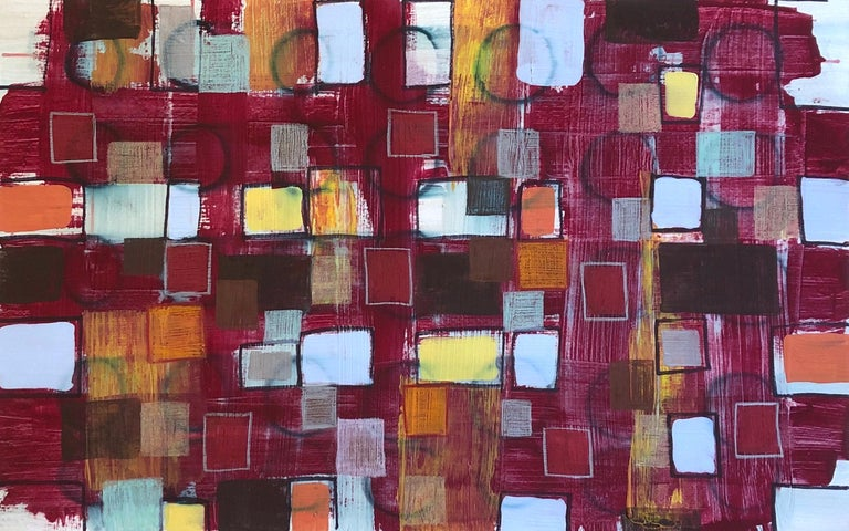#114, magenta mixed media on paper, geometric pattern - Mixed Media Art by Coco Liggett