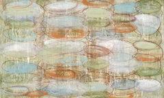 #132, neutral mixed media on paper, geometric pattern