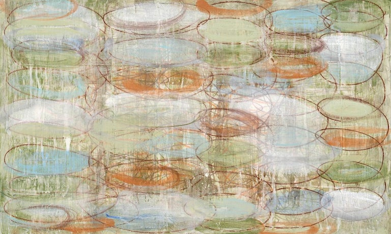 Coco Liggett Abstract Painting - #132, neutral mixed media on paper, geometric pattern