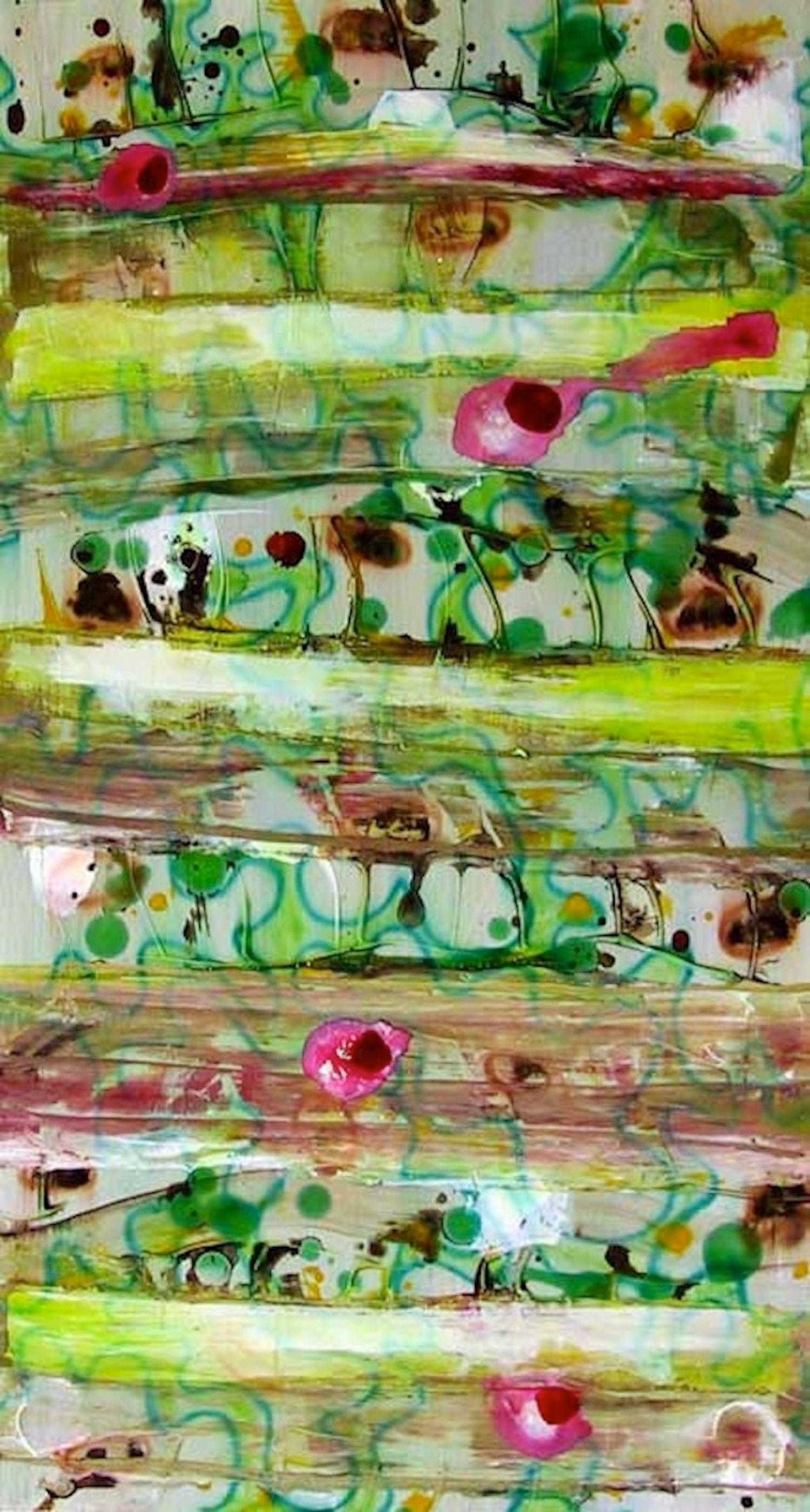 #42, bright green mixed media on paper, geometric pattern