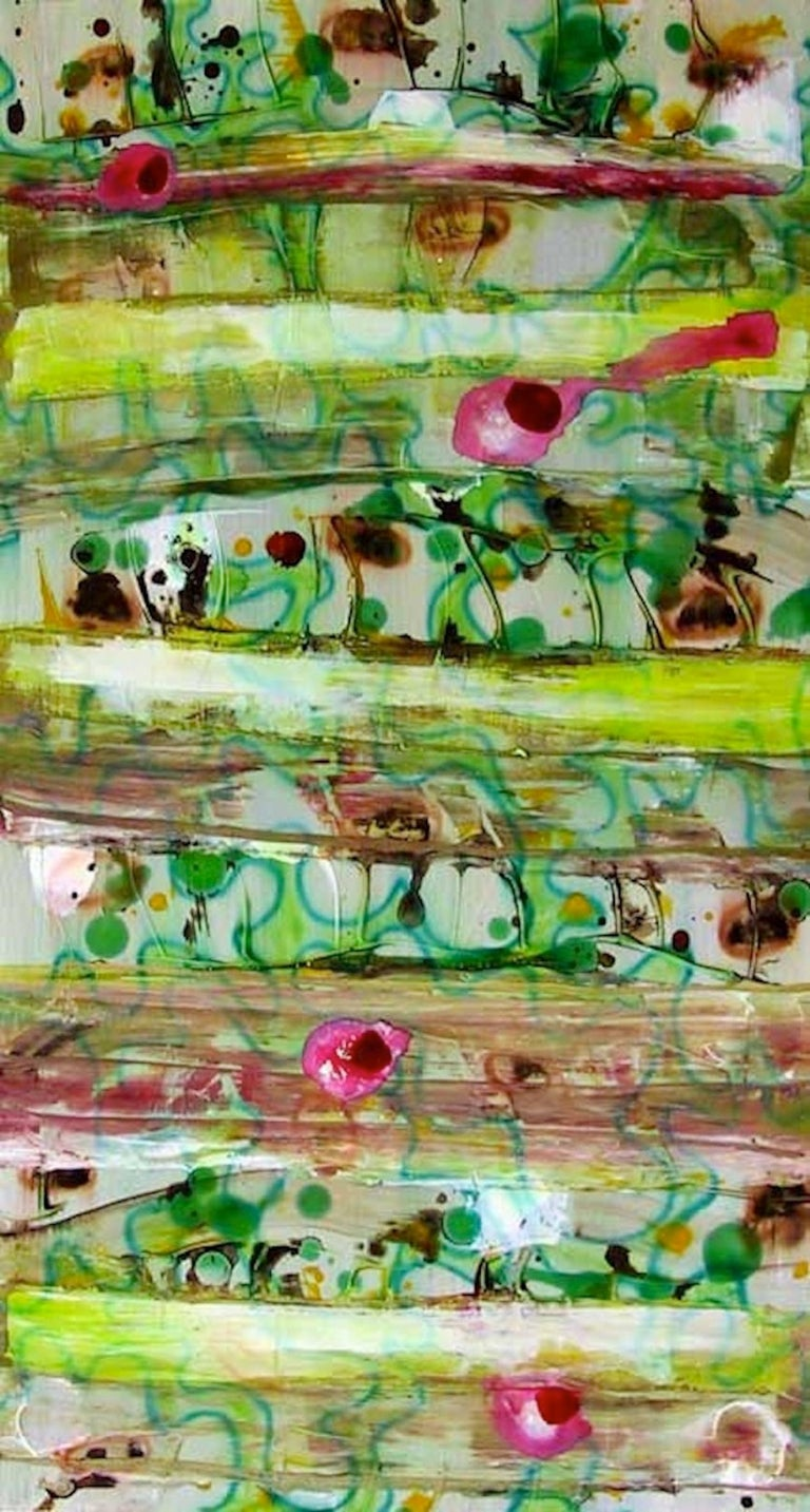 #42, bright green mixed media on paper, geometric pattern - Mixed Media Art by Coco Liggett