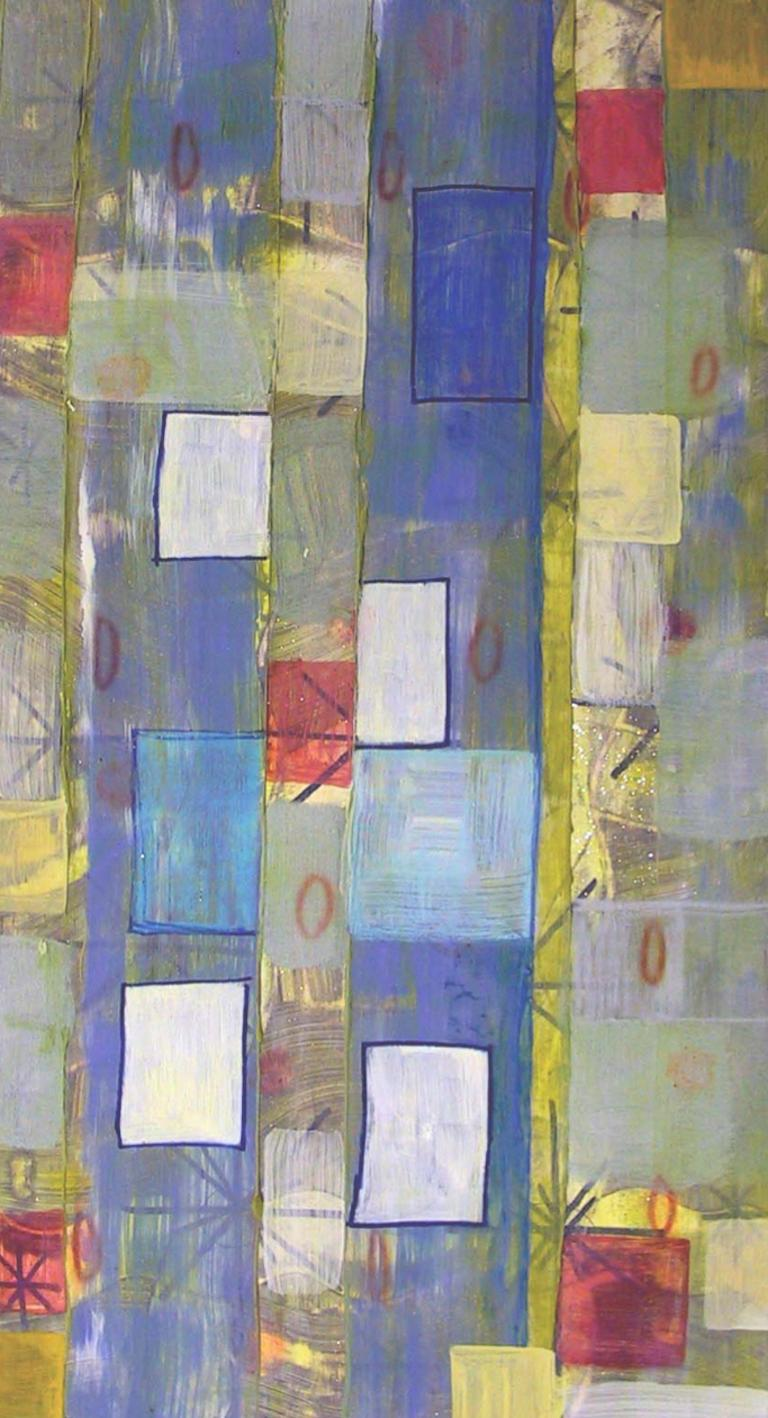 Coco Liggett Abstract Painting - #50, bright multicolored mixed media on paper, geometric pattern