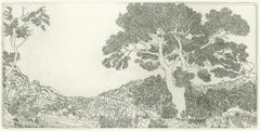 Landscape No. 2, intricate etching of a forest on paper