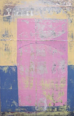 Rock 191: Pink Angel, pink, yellow and blue abstract oil painting