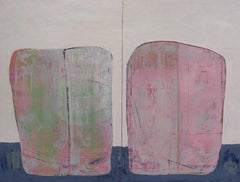 Rock 200: Sophie and Rose, pink abstract oil painting